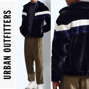Urban Outfitter Chevron Faux Fur Bomber Jacket